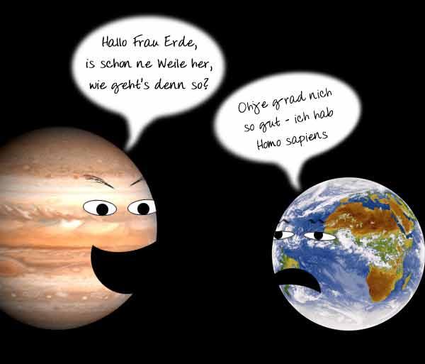 treffen sich zwei planeten